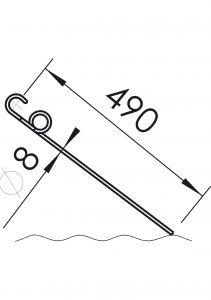 Зуб прополочной бороны 8х490